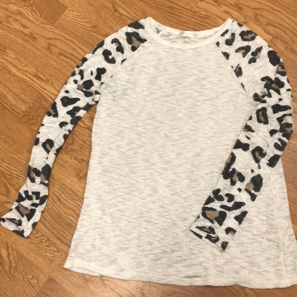 Luna Chic Tops - Cream sweater with leopard sleeves